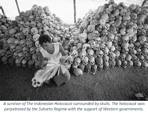 Indonesian Holocaust -- up to 1 million Indonesians murdered by the Suharto Regime.